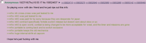 Monster Hunter 4chan Rumor